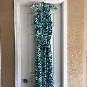 Jennifer Lopez blue/green maxi halter dress